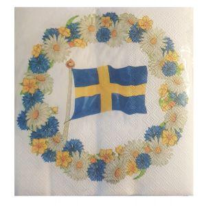 Servett Svensk Flagga Krans